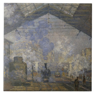 Claude Monet - den Sanktt-Lazare stationen Stor Kakelplatta