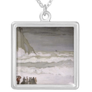 Claude Monet | grovt hav på Etretat, 1868-69 Silverpläterat Halsband