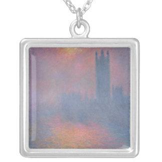Claude Monet | husen av parlamentet, London Silverpläterat Halsband