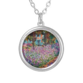 Claude Monet - Irises i Monets trädgårds- konst Silverpläterat Halsband