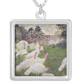 Claude Monet | kalkoner på Chateau de Rottembourg Silverpläterat Halsband