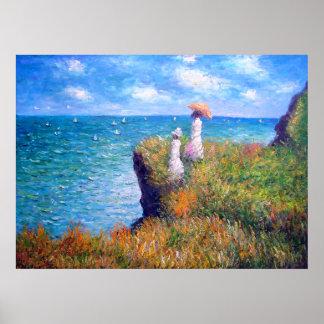 Claude Monet: Klippan går på Pourville Poster