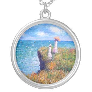 Claude Monet: Klippan går på Pourville Silverpläterat Halsband
