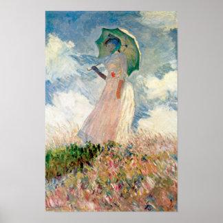 Claude Monet - kvinna med ett slags solskyddstudie Poster