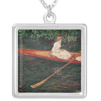 Claude Monet   rodd på floden Epte Silverpläterat Halsband
