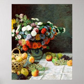 Claude Monet stilleben med blommor och frukt Poster