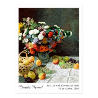 Claude Monet stilleben med blommor och frukt Vykort