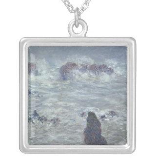 Claude Monet | storm, av kusten av bellen-Ile Silverpläterat Halsband