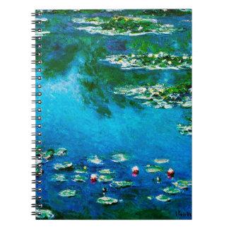 Claude Monet-Vatten-Liljar Anteckningsbok Med Spiral