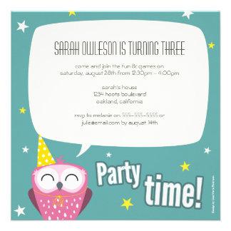 Claudette inbjudan för ugglabarns födelsedagparty