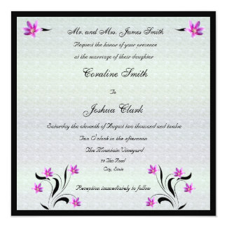 Clematis på inbjudan för Stoney vägbröllop