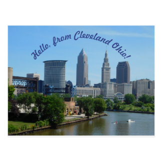 Cleveland Ohio (krökt text) horisontvykort Vykort