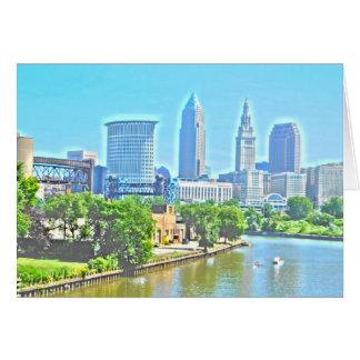 Cleveland Ohio River beskådar hälsningkortet Hälsningskort