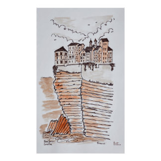 Cliffside stad av Bonifacio, Corsica, frankrike Poster