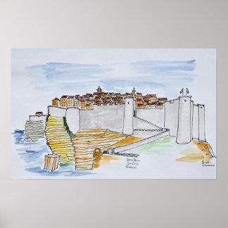 Cliffside stad av Bonifacio | Corsica, frankrike Poster