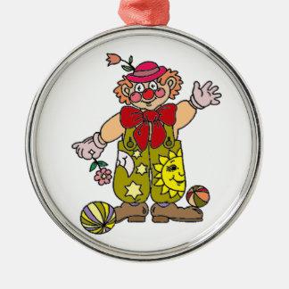 Clown 1 rund silverfärgad julgransprydnad