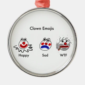 Clown Emojis Rund Silverfärgad Julgransprydnad