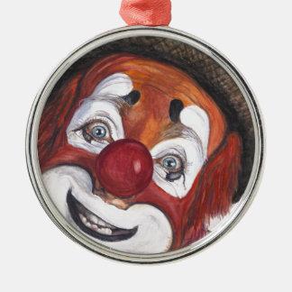 Clown Jonathan Freddies Rund Silverfärgad Julgransprydnad