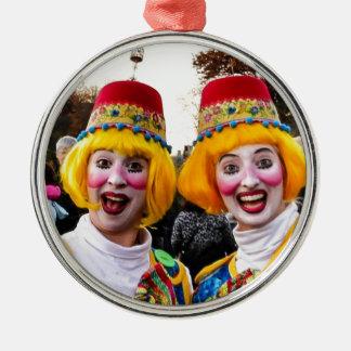 Clown Twiins Rund Silverfärgad Julgransprydnad
