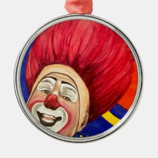 Clownen markerar den Carfora rundaprydnaden Rund Silverfärgad Julgransprydnad