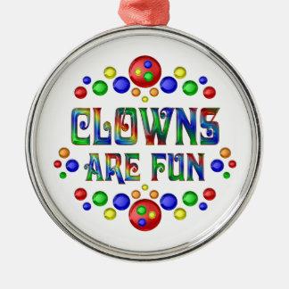 Clowner är roliga julgransprydnad metall