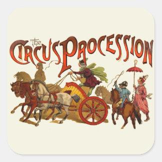 Clowner och hästar för vintagecirkusprocession fyrkantigt klistermärke