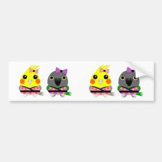 Cockatiel och Senegal papegoja i Kimonos Bildekal