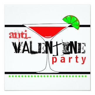 Coctail Martini för Anti-Valentines dagparty Fyrkantigt 13,3 Cm Inbjudningskort