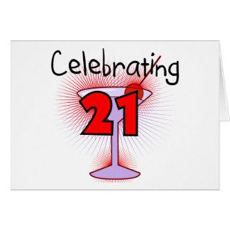 Coctail som firar 21 Tshirts och gåvor Hälsningskort