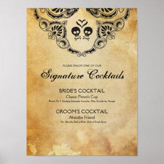 Coctailen för det Goth bröllophäftet undertecknar Poster