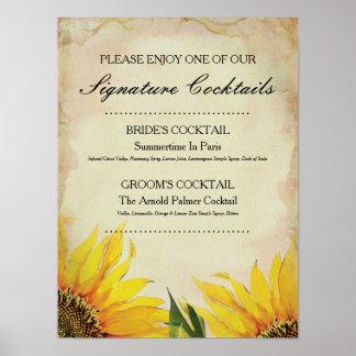 Coctailen för solroshäftebröllop undertecknar poster