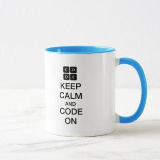 """Code.org """"behållalugn och kodifierar på """", mugg"""