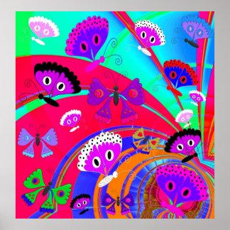 Collage 2 för fjäril för affischflickabarn poster
