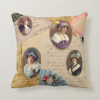 Collage av kvinnliga porträtt och brev kudde