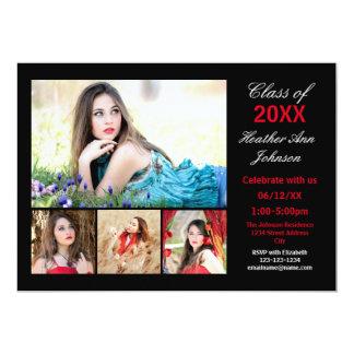 Collage för 5 foto - studentenmeddelande 12,7 x 17,8 cm inbjudningskort