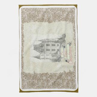 Collage för Chateau för vintageSepia fransk Kökshandduk