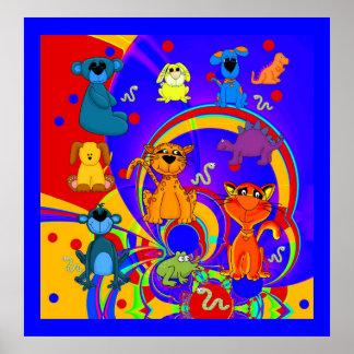 Collage för djur för affischpojkebarn affisch