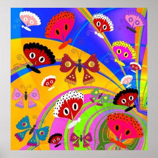 Collage för fjäril för affischflickabarn poster