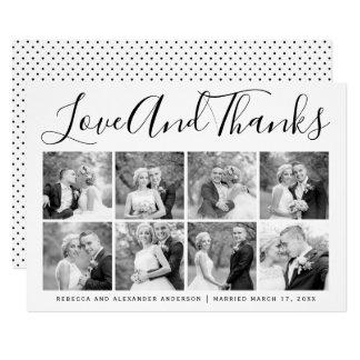 Collage för foto för typografibrölloptack åtta 12,7 x 17,8 cm inbjudningskort