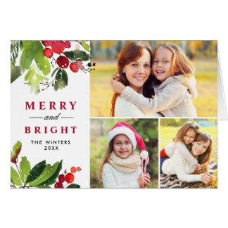 Collage för foto för vattenfärg för julblommigt   hälsningskort