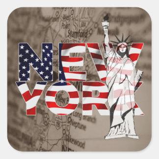 Collage för frihet för New York flaggakarta Fyrkantigt Klistermärke