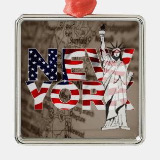 Collage för frihet för New York flaggakarta Julgransprydnad Metall