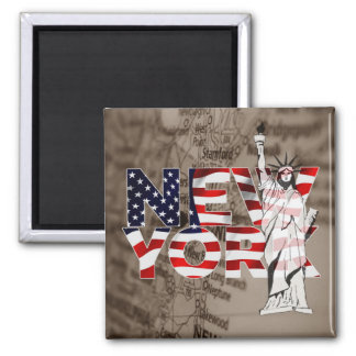 Collage för frihet för New York flaggakarta Magnet