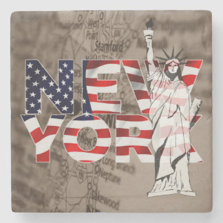 Collage för frihet för New York flaggakarta Underlägg Sten