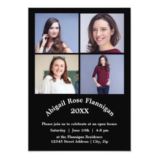 Collage för fyra foto - studentenmeddelande 12,7 x 17,8 cm inbjudningskort