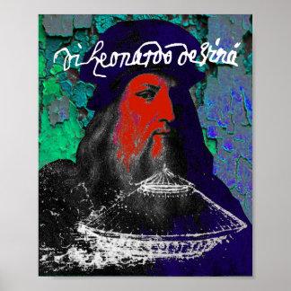 Collage för massmedia för Leonardo Da Vinci snille Poster