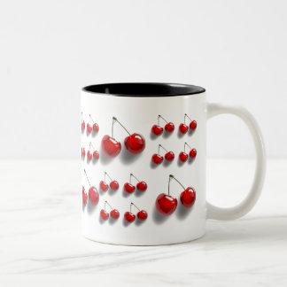 collage med körsbär Två-Tonad mugg
