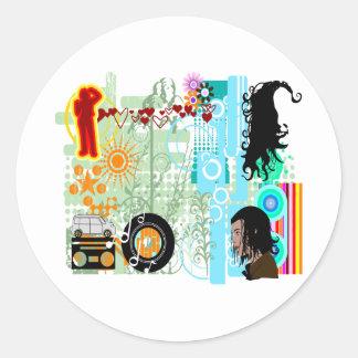 Collagekonst #003 runt klistermärke