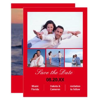 Collagelodrät för 4 foto - röd spara datera 12,7 x 17,8 cm inbjudningskort