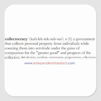 Collectocracy definition fyrkantigt klistermärke